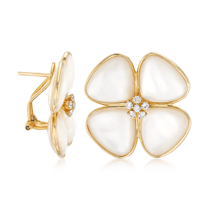 Mother-Of-Pearl and .42 ct. t.w. Diamond Flower Earrings in 14kt Yellow Gold