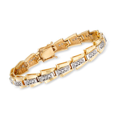C. 1980 Vintage 1.30 ct. t.w. Diamond Flexible Link Bracelet in 14kt Yellow Gold, , default