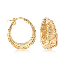 14kt Yellow Gold Scroll Design Hoop Earrings, , default