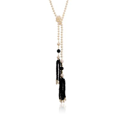 Cultured Pearl Lariat Necklace with Black Onyx Tassels and 14kt Yellow Gold, , default