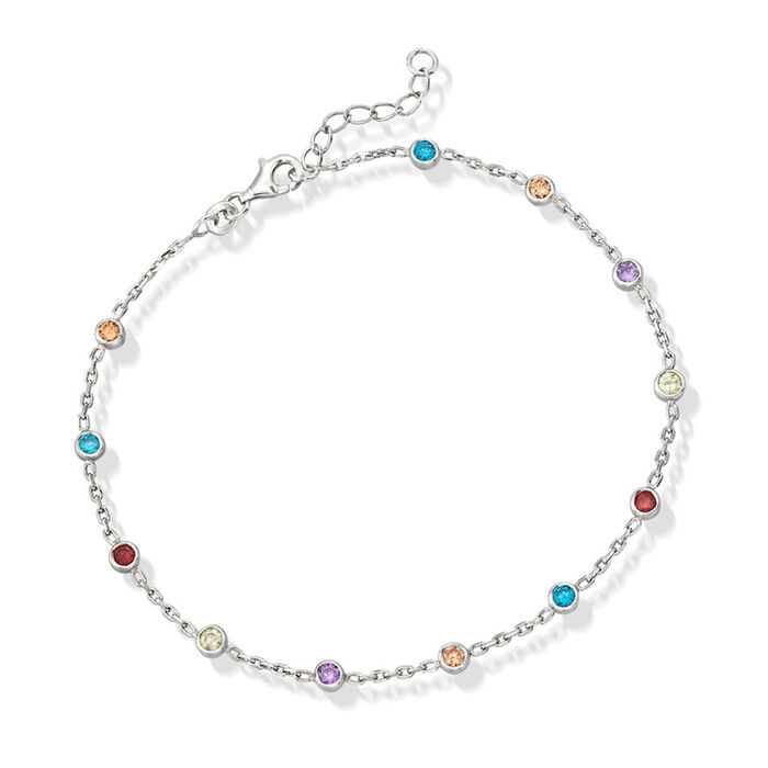 1.20 ct. t.w. Multicolored CZ Station Anklet in Sterling Silver