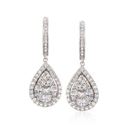 1.99 ct. t.w. Diamond Pear-Shaped Drop Earrings in 18kt White Gold, , default