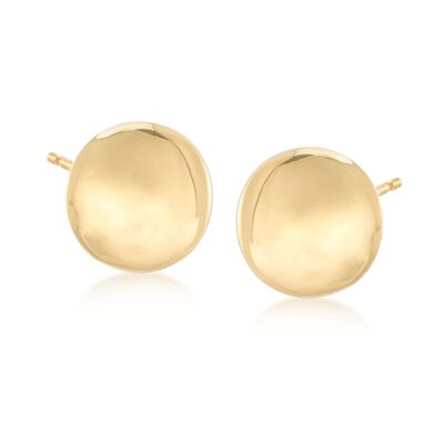 Italian 18kt Yellow Gold Button Earrings, , default