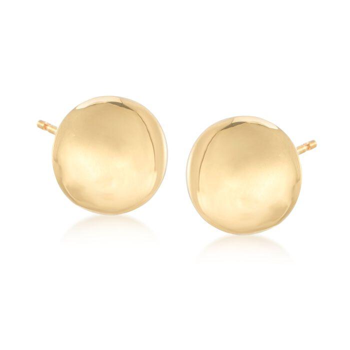 Italian 18kt Yellow Gold Button Earrings, , default