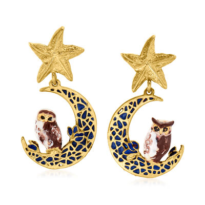 Italian 18kt Gold Over Sterling and Enamel Owl, Moon and Star Drop Earrings