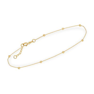 2mm 14kt Yellow Gold Diamond-Cut Bead Station Anklet, , default