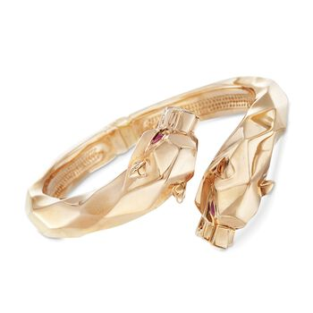 14kt Yellow Gold Double Panther Head Bypass Bangle Bracelet With .30 ct. t.w. Rubies, , default