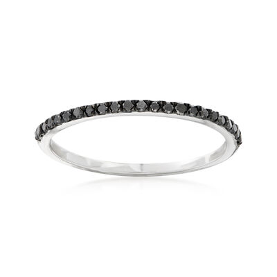 .15 ct. t.w. Black Diamond Stackable Ring in 14kt White Gold