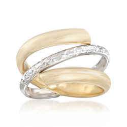 Italian 14kt Two-Tone Gold Spiral Ring, , default