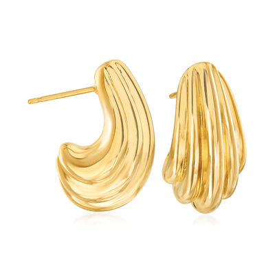 14kt Yellow Gold Ribbed Swirl J-Hoop Earrings, , default