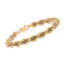 C. 1980 Vintage 18kt Yellow Gold Rope Bracelet, , default