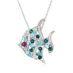 "4.20 ct. t.w. Multi-Stone Tropical Fish Necklace in Sterling Silver. 18"", , default"