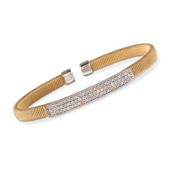 """1.00 ct. t.w. Diamond Cabled Cuff Bracelet in 14kt Yellow Gold. 7"""", , default"""