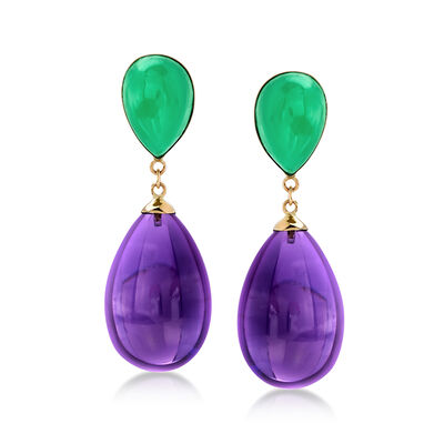 Green Jade and Amethyst Teardrop Earrings in 14kt Yellow Gold