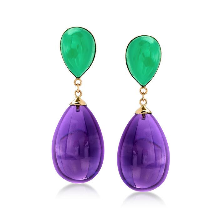 Green Jade and Amethyst Teardrop Earrings in 14kt Yellow Gold, , default
