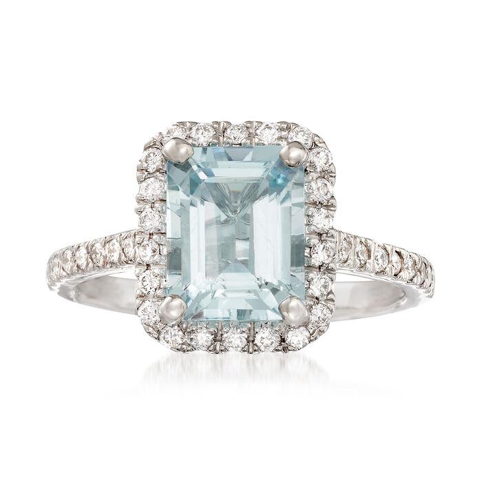 2.00 Carat Aquamarine and .40 ct. t.w. Diamond Ring in 14kt White Gold