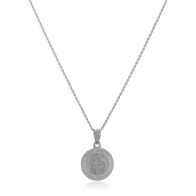 14kt White Gold Small Joseph Medal Pendant Necklace, , default