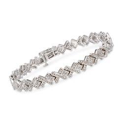 1.00 ct. t.w. Diamond X-Link Bracelet in Sterling Silver, , default