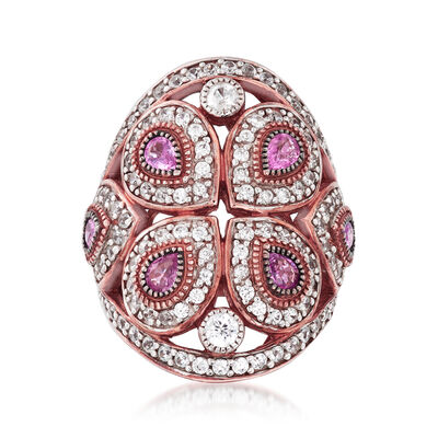 2.20 ct. t.w. White Zircon and 1.20 ct. t.w. Pink Sapphire Ring in 18kt Rose Gold Over Sterling Silver, , default