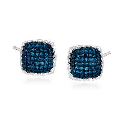 .20 ct. t.w. Blue Diamond Square Stud Earrings in Sterling Silver