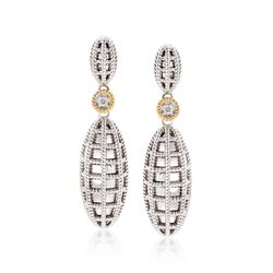 "Andrea Candela ""Geo"" Sterling Silver and 18kt Yellow Gold Drop Earrings With Diamond Accents, , default"