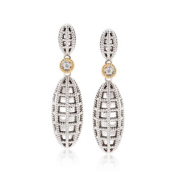 """Andrea Candela """"Geo"""" Sterling Silver and 18kt Yellow Gold Drop Earrings With Diamond Accents, , default"""