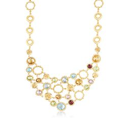 "30.65 ct. Tw. Multi-Stone Bib Necklace in 18kt Yellow Gold Over Sterling Silver. 20"", , default"
