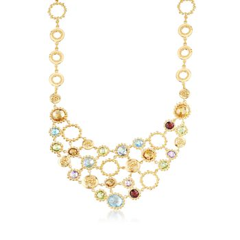 """30.65 ct. Tw. Multi-Stone Bib Necklace in 18kt Yellow Gold Over Sterling Silver. 20"""", , default"""