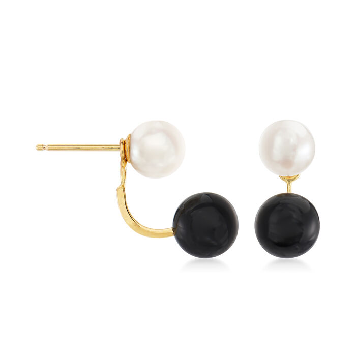 Onyx and 6-6.5mm Cultured Pearl Earrings in 14kt Yellow Gold