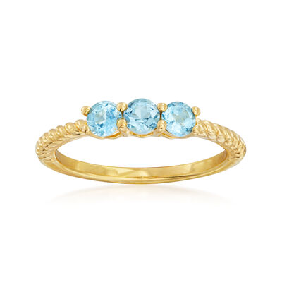 .30 ct. t.w. Swiss Blue Topaz Three-Stone Pinky Ring in 18kt Gold Over Sterling