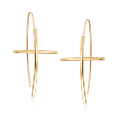 14kt Yellow Gold Cross Drop Earrings