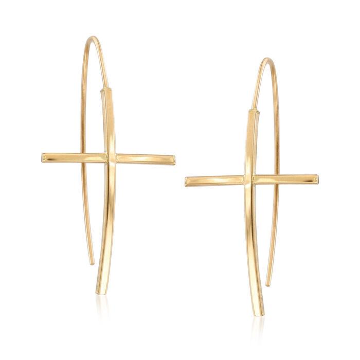14kt Yellow Gold Cross Drop Earrings