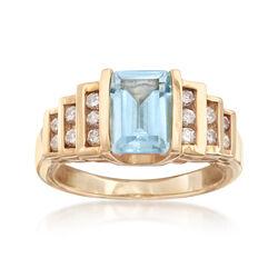 C. 1990 Vintage 1.25 Carat Aquamarine and .30 ct. t.w. Diamond Ring in 14kt Yellow Gold, , default