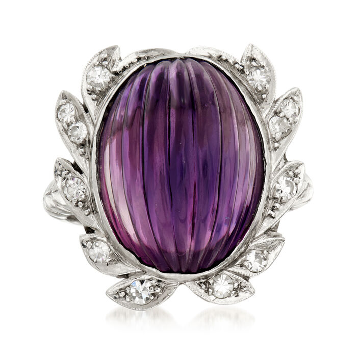 C. 1960 Vintage 13.00 Carat Amethyst and .25 ct. t.w. Diamond Cocktail Ring in Platinum. Size 6