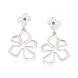 """Zina Sterling Silver """"Tiki"""" Flower Drop Earrings, , default"""