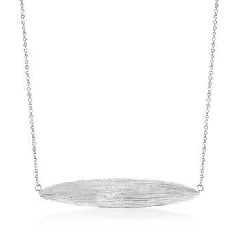 "Sterling Silver Textured Ellipse Necklace. 20"", , default"