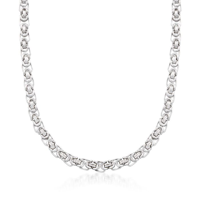 "Men's Sterling Silver Byzantine Box Link Necklace. 22"", , default"