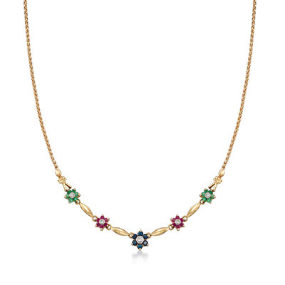 C. 1990 Vintage 1.55 ct. t.w. Multi-Gemstone and .18 ct. t.w. Diamond Flower Necklace in 14kt Yellow Gold, , default