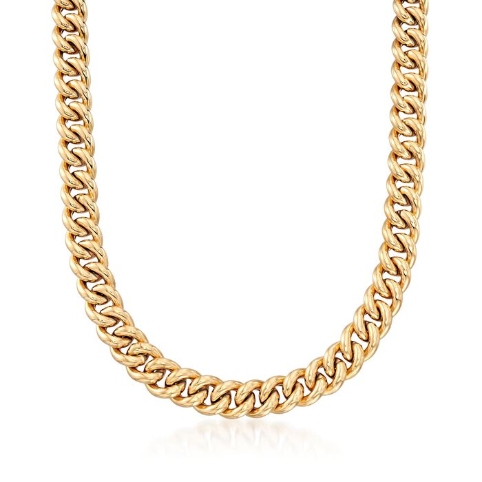 Italian 18kt Yellow Gold Curb-Link Necklace, , default