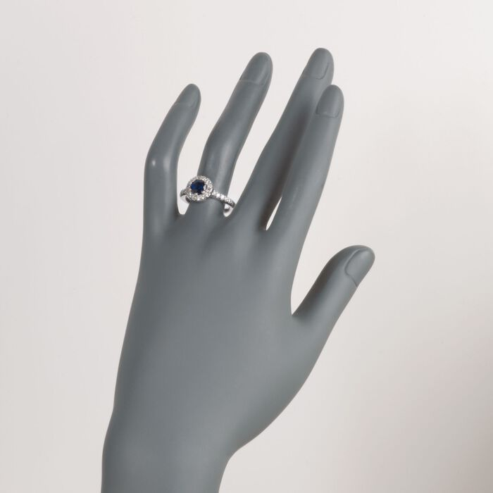C. 1990 Vintage 1.50 Carat Sapphire and And .80 ct. t.w. Diamond Halo Ring in 14kt White Gold