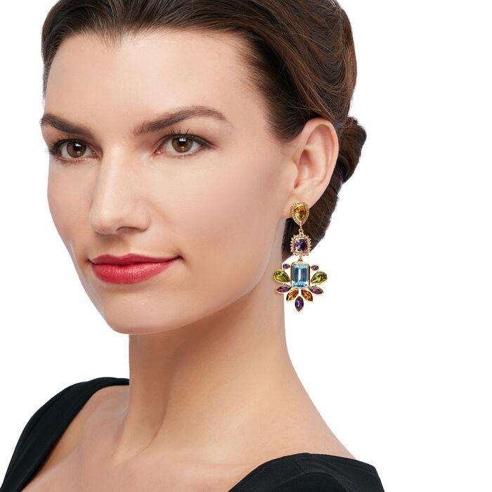 37.30 ct. t.w. Multi-Gemstone Chandelier Drop Earrings in 18kt Gold Over Sterling