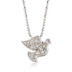 """C. 2000 Vintage Alex Woo """"Activist Peace Dove"""" .11 ct. t.w. Diamond Necklace in 14kt White Gold. 16"""", , default"""