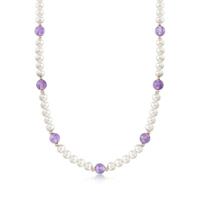 6.5-7mm Cultured Pearl and 30.00 ct. t.w. Amethyst Bead Necklace with 14kt Yellow Gold