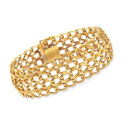 C. 1980 Vintage 14kt Yellow Gold Multi-Row Link Bracelet, , default