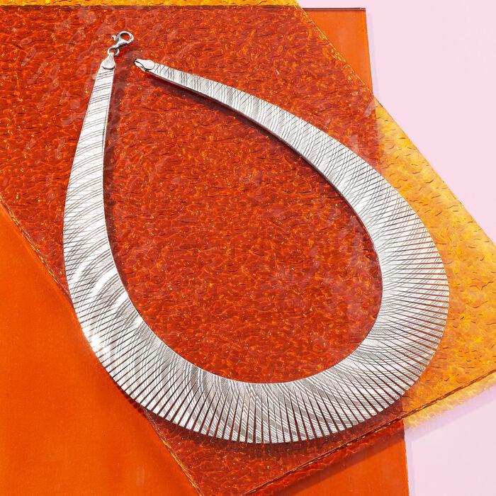 Italian Sterling Silver Diamond-Cut Cleopatra Necklace