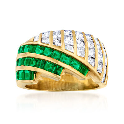 C. 1980 Vintage 2.00 ct. t.w. Diamond and 1.60 ct. t.w. Emerald Ring in 18kt Yellow Gold