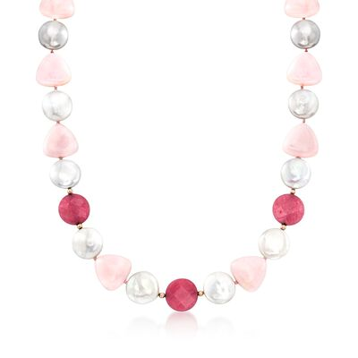 14-15mm Cultured Coin Pearl and Pink Opal Necklace With Pink Jade and 14kt Yellow Gold, , default