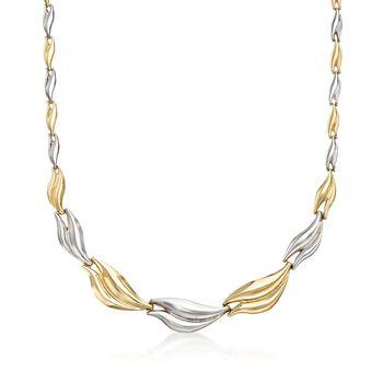 14kt Two-Tone Gold Graduated Link Necklace , , default