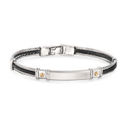 ALOR Men's Black Leather and Stainless Steel Cable Bracelet With 18kt Yellow Gold, , default