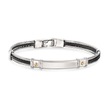 "ALOR Men's Black Leather and Stainless Steel Cable Bracelet With 18kt Yellow Gold. 8.25"", , default"